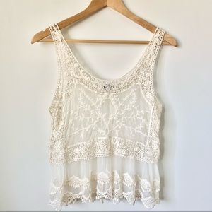 Express Beige Hollow Out Crochet Lace Tank Top